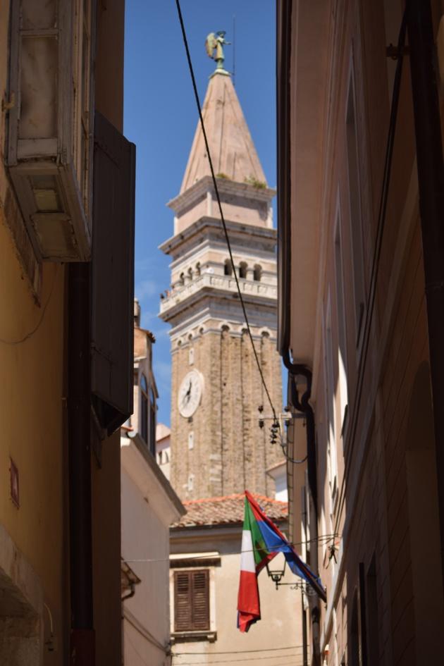 Le clocher de Piran. Crédit Lucie Benk.