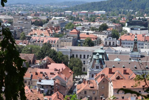Vue sur Ljubljana à partir du château. Crédit Lou Balanche.