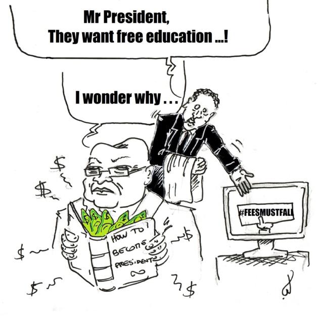 « - Monsieur le Président, ils réclament l'éducation gratuite ! - Je me demande pourquoi... » (sur le livre : « Comment devenir Président »). Dessin de Louis Bertrand.