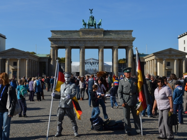 La Porte de Brandebourg lors de la Fête nationale allemande