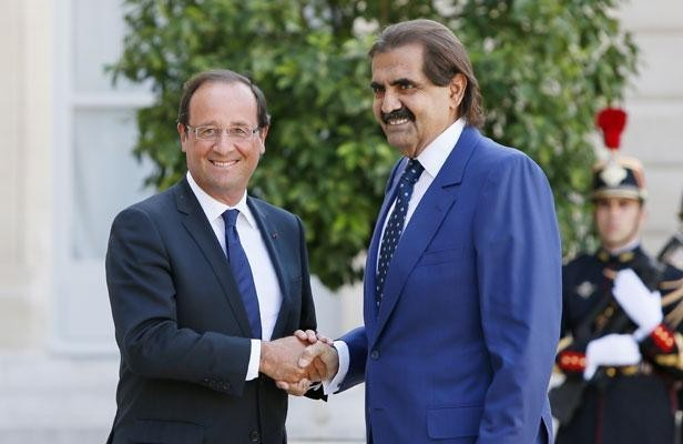 Rencontre entre Al Thani et Hollande; Crédits : Kenzo Tribouillard/AFP