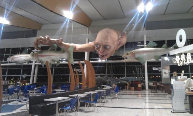 Un Gollum géant dans l'aéroport de Wellington