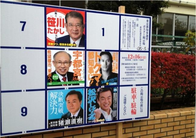 Tableau électorale dans le quartier de Shinjuku à Tokyo