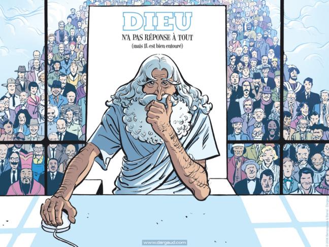 """Couverture du tome 1 de la bande-dessinée de Nicolas Barral,  """"Dieu n'a pas réponse à tout"""" (2007)"""
