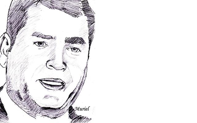 Portrait de Rafael Correa, par Muriel Epailly