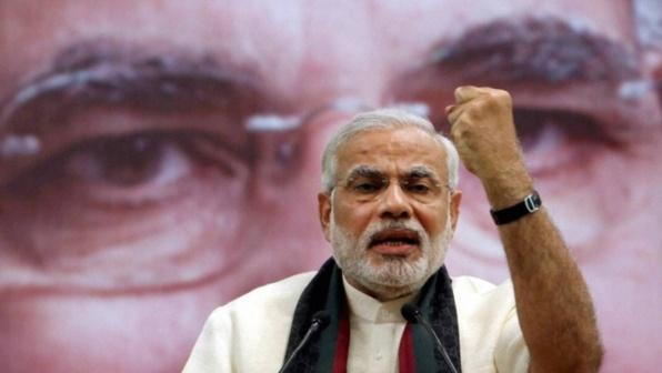 Narendra Modi, ministre en chef de l'Etat du Gujarat et candidat au poste de Premier ministre. Crédits : Press Trust of India.