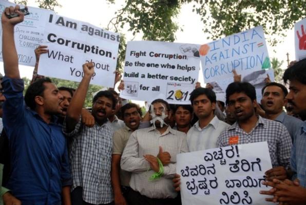 Manifestation anti-corruption. Crédits : Karnataka Photo News.