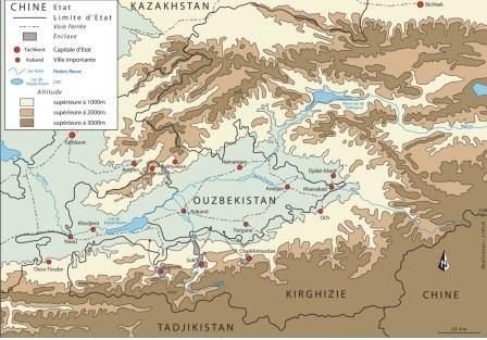 Carte n°1 - La Vallée du Fergana (source : Julien FELIX pour David GAÜZERE)