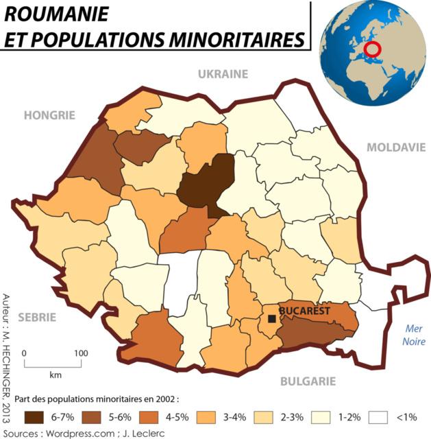 Répartition des 619007 Roms de Roumanie (3,25% de la population)