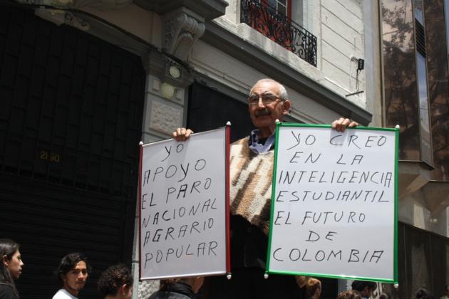 « Je soutiens la grève national agraire. Je crois en la pensée estudiantine, le futur de la Colombie » | Crédits photo : Tatiana Ramirez/Le Journal International