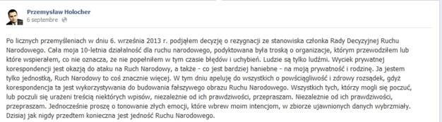 Capture d'écran de la page Facebook de Przemysław Holocher