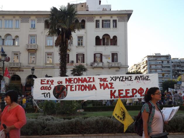 Affiche antifasciste lors d'une manisfestation à Thessalonique   Crédits photo -- Dimitri Mézière/Le Journal International
