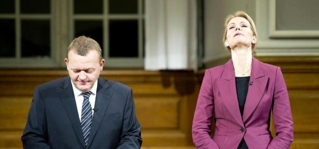Lars Løkke Rasmussen et Helle Thorning-Schmidt   Crédits photo : Claus Bech
