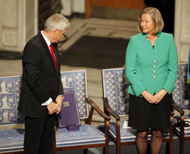 Nobel Commitee chairman Thorbjorn Jagland, left, and committee member Kaci Kullman Five | Credits -- AP