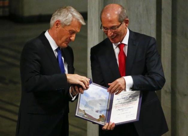 Thorbjorn Jagland and Ahmet Uzumcu, Director-General of the OPCW