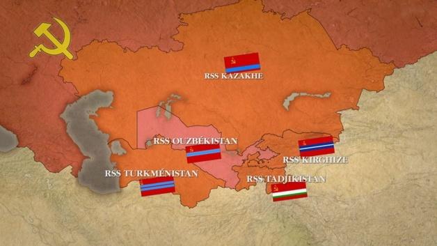 Les Républiques socialistes soviétiques en Asie centrale. Crédit : ddc.arte.tv