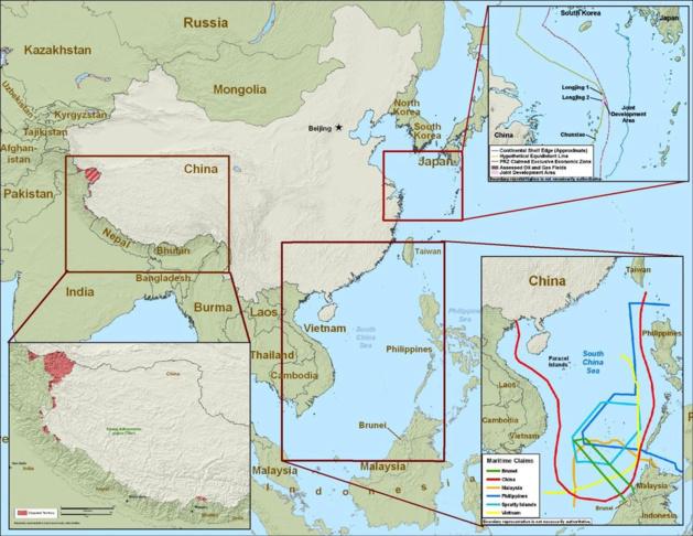 Territoires disputés par la Chine. Crédit DR