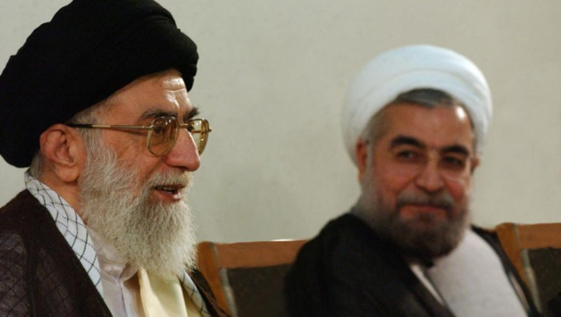 Hassan Rouhani (on the right), next to the Supreme Guide Ali Khamenei - Credit Reuters