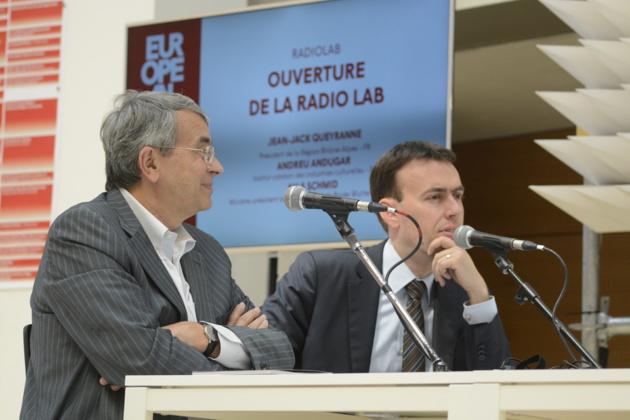 Jean Jack Queyranne et Nils Schmid à l'European Lab - Crédit : Auriane Guiot
