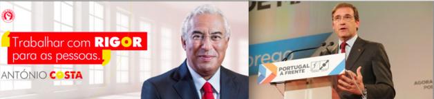 Os candidatos do PS e da coaligação PSD/CDS-PP – Créditos: DR