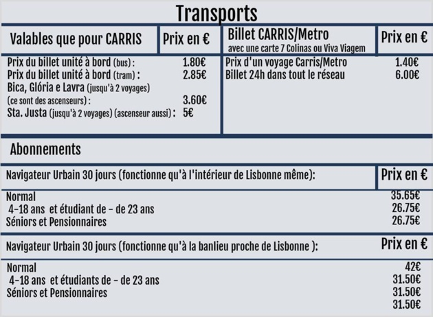 Example of the pricing structure of public transport in Lisbon-Source: www.carris.pt