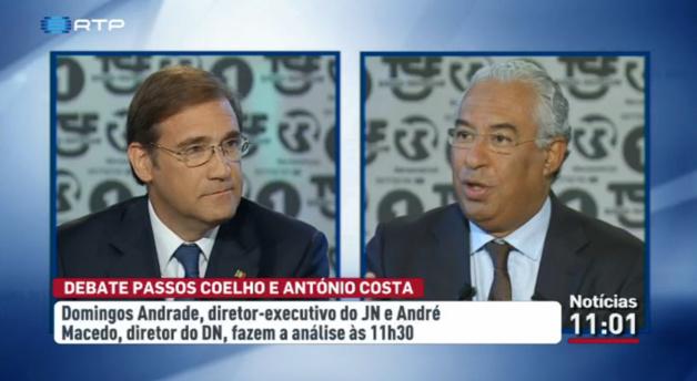 Débat télévisuel entre Pedro Passos Coelho (PSD, à gauche) et António Costa (PS, à droite), le 17 septembre 2015. Source: RTP