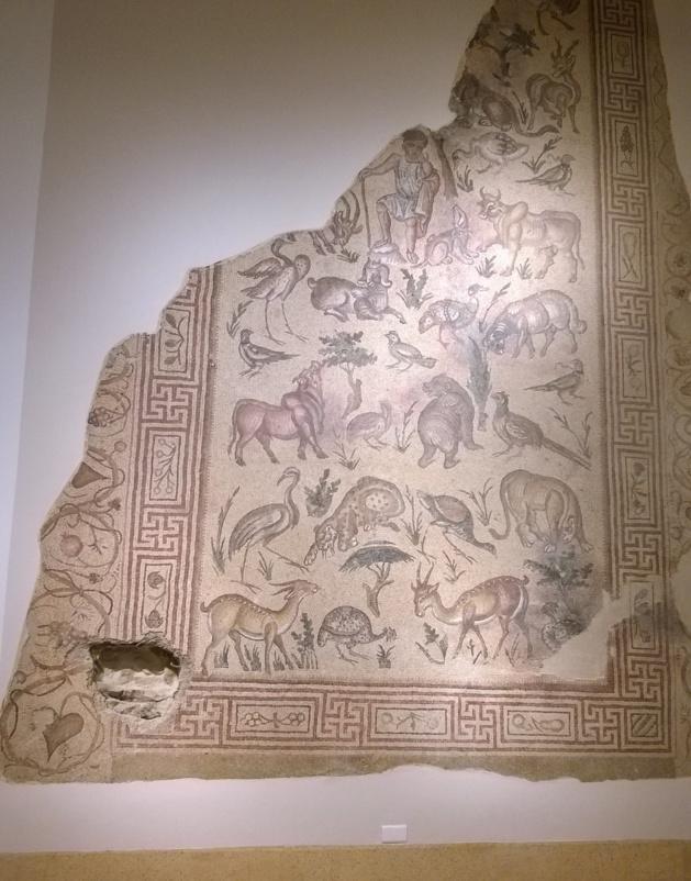 A mosaic, damaged by a sniper shot, National Museum of Beirut. Credit Salomé Ietter