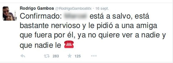 «Confirmation: Pedro est sauf, il est assez stressé et il a demandé à une amie proche de venir le chercher. Maintenant il ne veut voir personne et que personne ne lui téléphone.». Capture d'écran Twitter