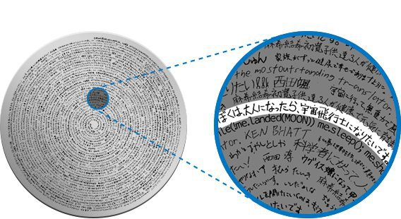 """Un disco d'argento su cui sono incisi alcuni dei """"sogni"""". Fonte Otsuka Pharmaceutical"""
