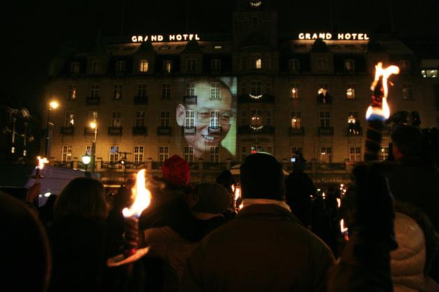 Manifestation de soutien à Liu Xiaobo à Oslo - Crédit Erik F. Brandsborg