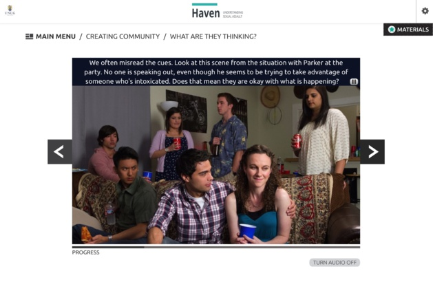 Uno screenshot del corso online offerto da UNCG