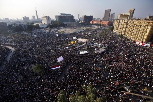 La marcha del millón del 22 de noviembre, en la plaza Tahrir, El Cairo. Crédito AP Photo / Khalil Hamra