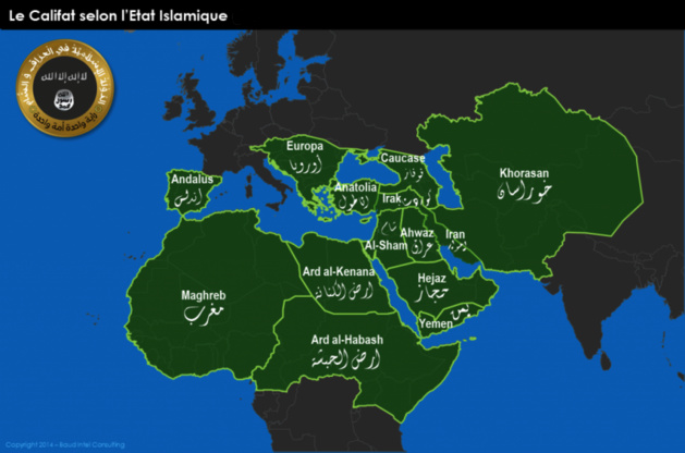 Carte « Le Califat selon l'État Islamique » (juin 2014)