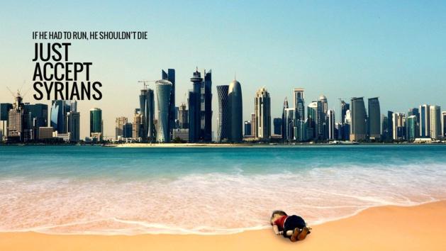 Propaganda da foto de Aylan, caído diante de Doha, capital do Catar.