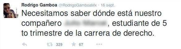 """""""Abbiamo bisogno di sapere dov'è il nostro amico Pedro, studente di diritto"""" Screenshot di Twitter"""
