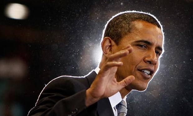 Barack Obama at a campaign meeting in North Carolina in 2008 - Credit Jim Young