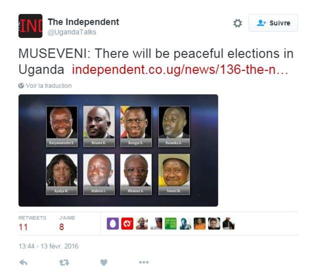 Sans surprise, M. Museveni ne s'en est pas inquiété, et a promis une élection dans la paix.