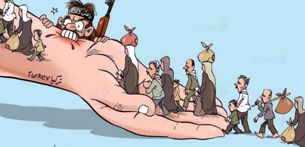 Caricatura del artista palestino Ala El-Lakata tras el atentado de Estambul el 12 de enero