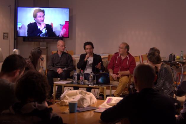 De gauche à droite : Tyron Rubin, Antoine Cayrol et Alain Damasio lors de l'European Lab 2016, « table ronde : comment la réalité virtuelle peut-elle augmenter l'expérience culturelle ? ». Crédit Auriane Guiot.