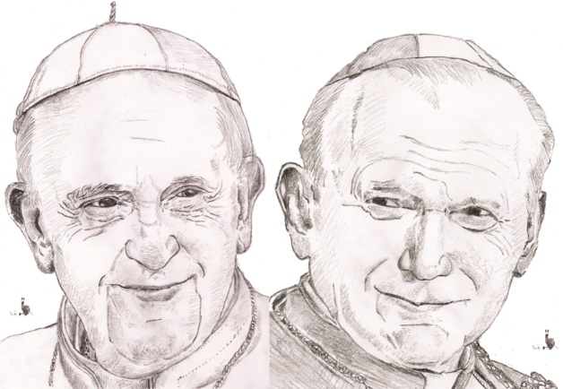 À droite, le pape François Ier. À gauche, Jean-Paul II. Crédit Muriel Epailly.