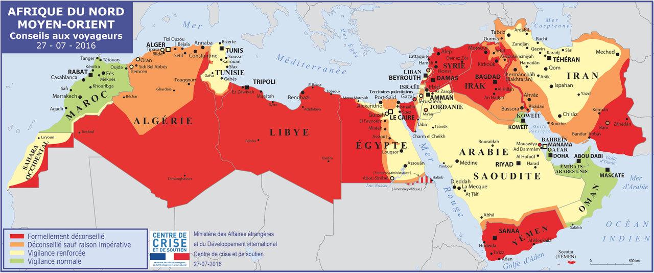 La carte des conseils aux voyageurs du Quai d'Orsay pour l'Afrique du Nord. Crédit Ministère des affaires étrangères.