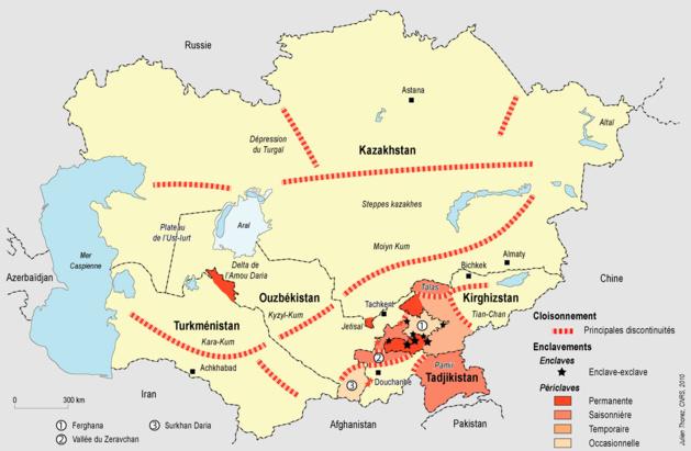 El culto a la soberanía y la afirmación nacionalista superpuestos a las fronteras complejas creadas por la URSS han creado un sinfín de enclaves, exclaves y periclaves.Créditos : Julien Thorez.