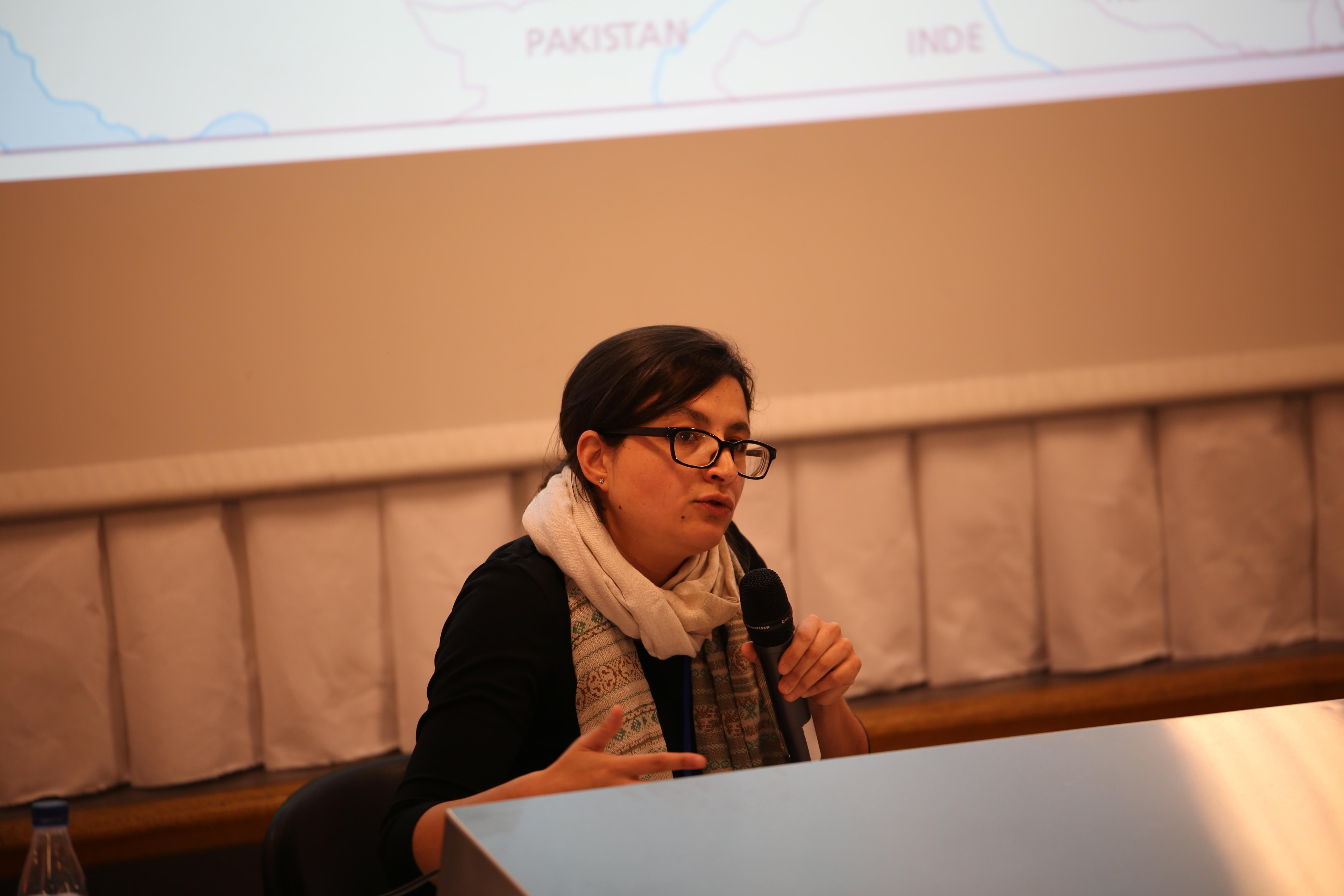 Isabella Damiani, spécialiste de l'Asie centrale, le 5 avril 2014, lors de son intervention sur « L'Eurasie vue d'Asie Centrale » pendant le Festival de Géopolitique de Grenoble. Crédit : Festival géopolitique de Grenoble