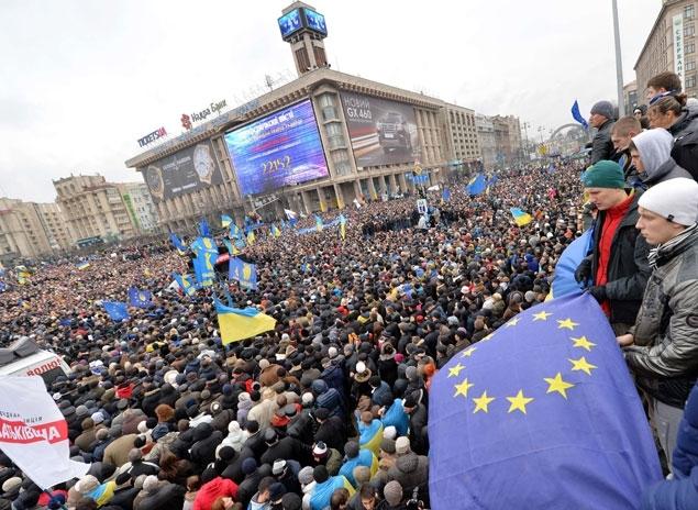 Manifestation pro-européenne en Ukraine. Crédit: Sergei Supinsky