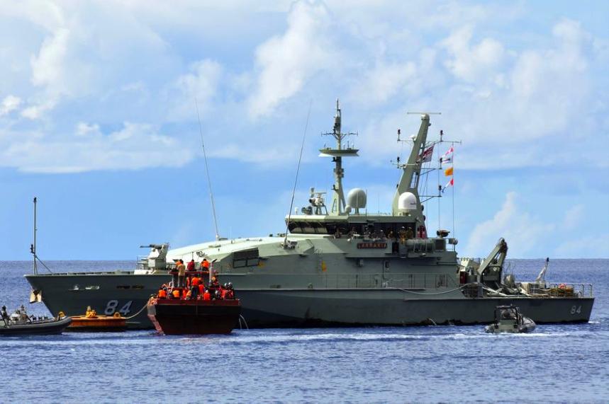 Interception d'un bateau clandestin par la marine australienne. Crédit : Darren Marsh pour ABC Australia