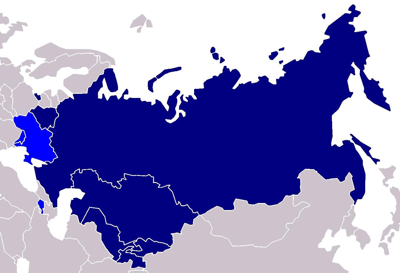 Carte de l'Union eurasiatique à ce jour. En bleu clair l'Ukraine, la Moldavie et l'Arménie, potentiels participants.