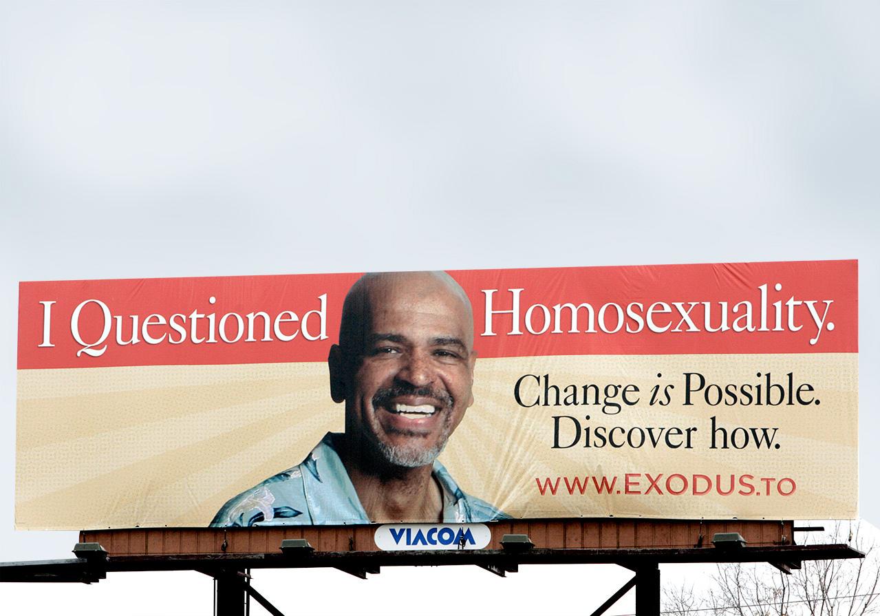 Affiche publicitaire pour Exodus International, organisation qui promouvait les «thérapies de conversion». Crédit James A. Finley/AP Photo