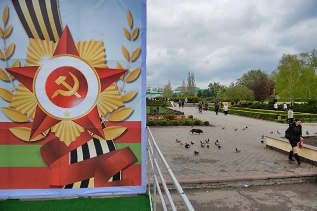 Le marteau et la faucille omniprésents à Tiraspol. -- Crédit Daniel Mihailescu / AFP