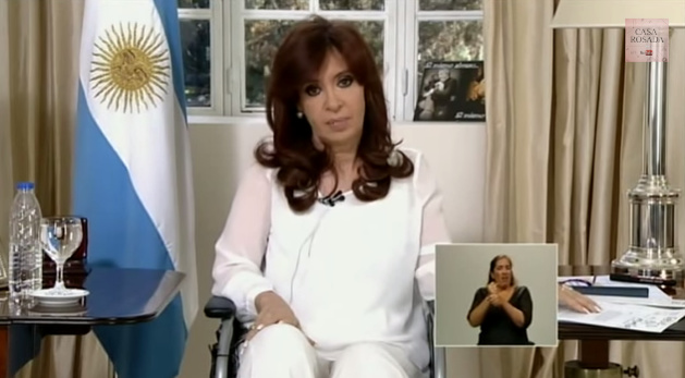 Christina Fernández de Kirchner addressing the nation, 26 January 2015. Credit Youtube