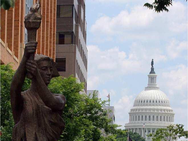 Le Monument aux victimes du communisme à Washington. Crédit Karen Bleier / AFP